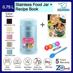 Zojirushi 750ml S/S Food Jar - SW-FCE-75 + Recipe Book + Spoon (BUNDLE PACKAGE)