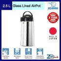 Zojirushi 2.5L S/S Glass Lined Air Pots - AALB-25S-ST (Stainless)