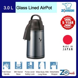 Zojirushi 3.0L S/S Glass Lined Air Pot - VRKE-30E-XS (Satin Leaf)